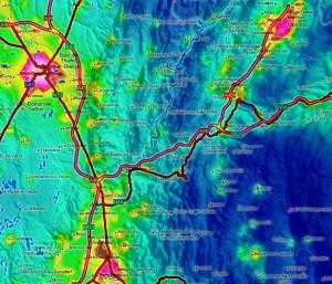 Carte de pollution lumineuse sur mon secteur.