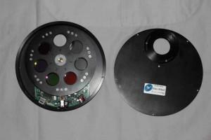 La roue à filtres avec le capot ouvert pour l'installation des filtres